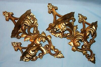 Pair Italian Gold Gilt Tole Carved Wood Double Wall Sconce Display Shelves