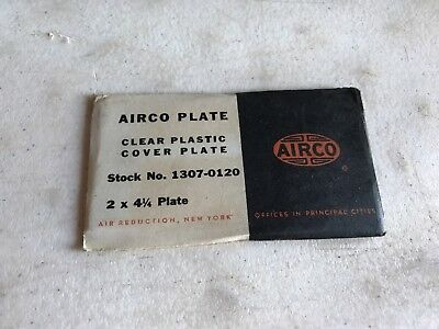 """Vintage Airco Plate Welding Lens Clear Shade NOS Glass 2""""x 4 1/4"""""""