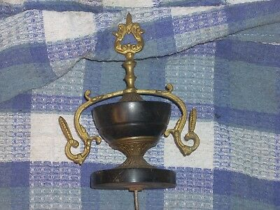 Antique Large French Mantel Clock  Finial Brass Black Marble Clock Part