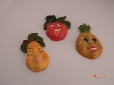 ANTHROPOMORPHIC Fruit Hanging Wall Plaques animated Smiling Set of 3 Ceramic