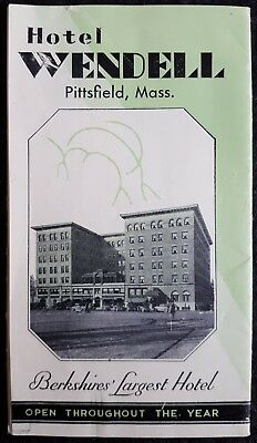 Vintage Brochure - Hotel Wendell, Pittsfield, MA - Berkshire's Largest Hotel!