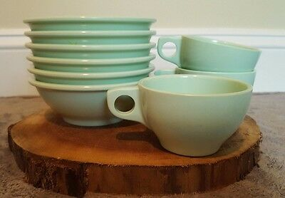 Vintage Boonton Melmac Atomic Mint Green Bowl and Cup Lot of 10 Mid Century Mod