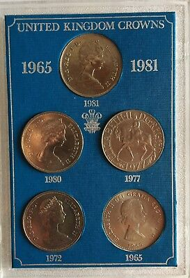 Set of 5 United Kingdom Crowns 1965 1972 1977 1980 1981 Coins