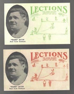 2ct 1923 Lections Babe Ruth New York Yankees Reprint Cards Red & Green L#52