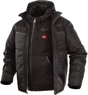 Milwaukee Men's Large Black Heated Jacket with Pockets Wind & Water Resistant