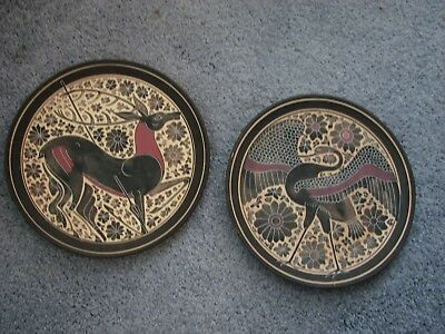 2 ORIGINAL GREEK HANDMADE POTTERY & HAND PAINTED DISPLAY PLATES - 1970's - F404