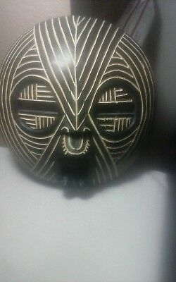 Outstanding large possible African hand carved wooden mask bout 11.5 x 11""