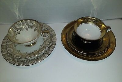 Eberthal Bavaria Cup, Saucer and Side Plate 2 - 3 Piece Sets Black Gold White