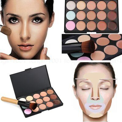 15 kleuren gezicht Contour make-up Camouflage palet Cream Concealer Kit borstel