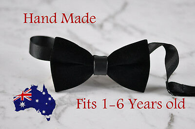 Baby Kids Boy Solid Black Velvet Bowtie Bow Tie 1 to 6 Years Old Wedding Party