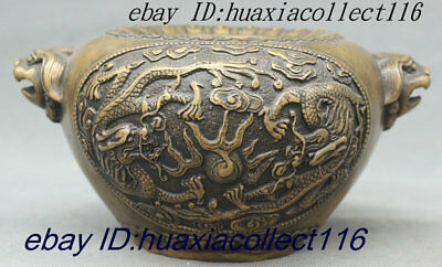 """7"""" Old Chinese Palace Pure Bronze Double Dragon Lion Head Incense Burner Censer"""