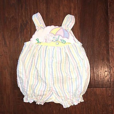 VTG Baby Girl Togs Romper Bunny Detail Embroided Easter Eggs SIZE 3-6MO