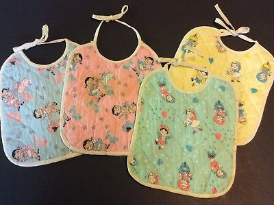 Lot of 4 CAMPBELL KIDS Vintage Cloth Baby Bibs 1960's or 1970's Campbell's Soup