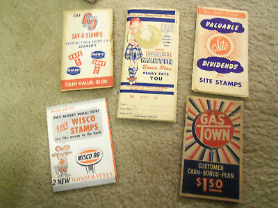 lot of 5  gas, oil company  vintage stamp books Site, Wisco, Martin, Gas Town