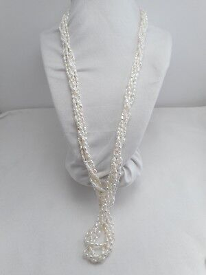 Vintage - Now Jewelry Cream Color Multi Strands Glass Barrel Pearl Long Necklace