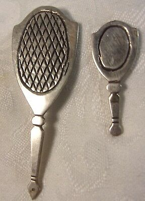 Antique Hand Made Sterling Silver Doll House Mirror Set  Hand Engraved Southwest