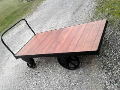 Industrial Lumber Railroad Cart Coffee Table Nutting Faribault Antique