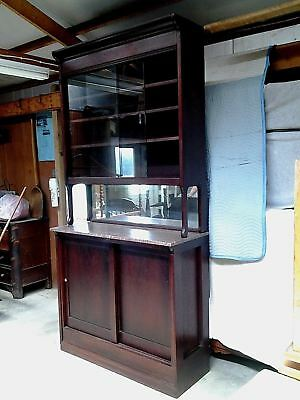 Pharmacy Cabinet Back Bar with Pink Marble and Mirror, Mahogany 1922 Vintage