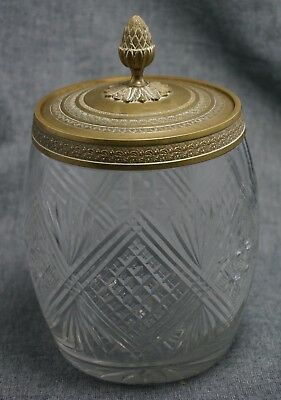 "Victorian CUT GLASS BISCUIT JAR with BRONZE RIM and LID - 8"" tall - Circa 1900"