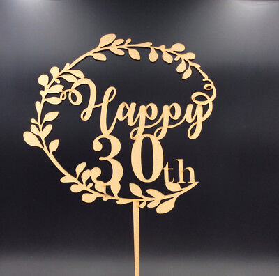 Cake Topper Happy 30th 40th 50th 60th Wooden Birthday Anniversary Party Supplies