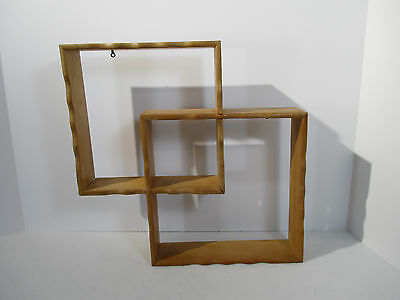 Retro Wall Shelf Double Cube Square Scallop Edge Vintage 1970 Wood Curio Japan