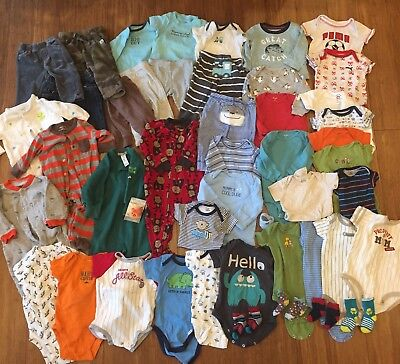 Huge Lot of 46 Baby Boy 3-6 Month Winter Spring Clothes PJs Sleepers Pants Large