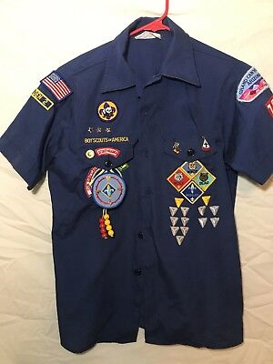 Cub Scout B.S.A Blue Shirt with Pins and Patches Vintage youth large