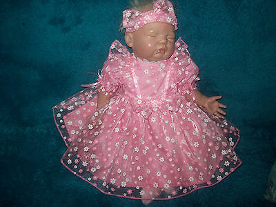 Pink  Party Dress With Organza Overlay For Reborn 20-21