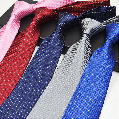 Classic Red Black Blue Mens Tie Silk Necktie Set Paisley Wedding Jacquard Woven