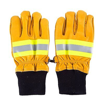 Yellow Leather Work Gloves With Insulated Split Cowhide for Firefighter, Heavy