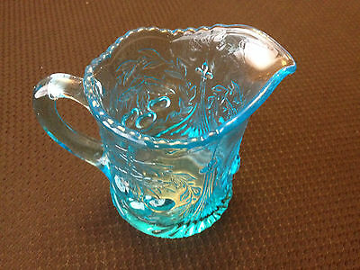 LG Wright Fenton Aqua Blue Glass Cherry Pattern Beaded Edge Creamer Pitcher