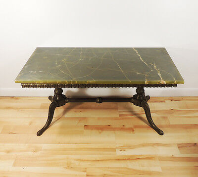 Vintage Antique Italian Brass Base Green Marble Top Coffee Table