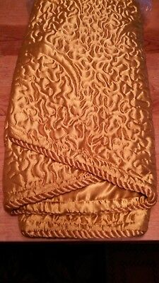 """CHRISTMAS TREE SKIRT & 2 STOCKINGS Gold Quilted Silk 48"""" Matched Set NEW"""