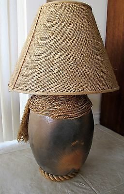 """Vintage Large Clay Lamp Rope Wrapped 32"""" Height 21"""" Wide Heavy 20 lb  Handmade"""