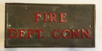 Vintage Industrial Salvage FIRE Department Conn. Bronze Enamel Sign plaque