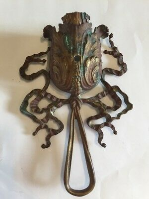 Antique Architectural Salvage Furniture Hardware -Bronze/Brass Floral Ribbons