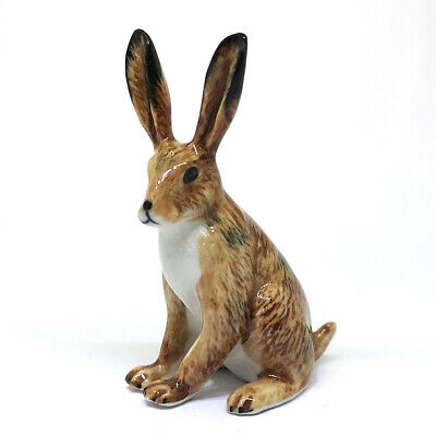 Hand Painted Miniature Collectible Ceramic Wild Brown Rabbit Figurine