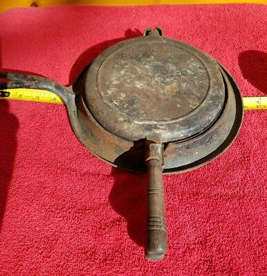 Antique National Cast Iron W/ Wooden Handle Waffle Iron - Turn of the Century!