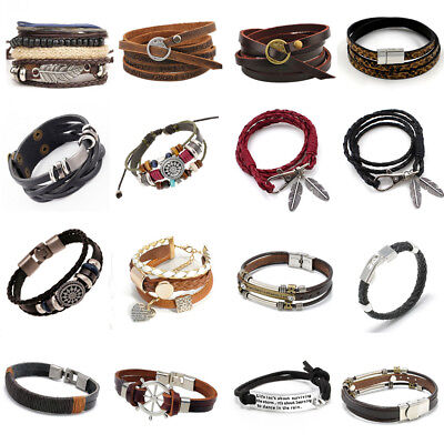 New Fashion Retro Multilayer Leather Wristband Bracelet Cuff Bangle Men Women