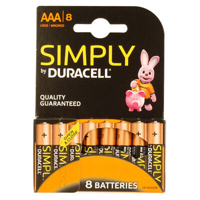 """New Duracell Aaa Size 8 Pack Simply Alkalne Batteries """"Mn2400B8Simply"""""""