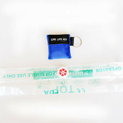 1 pc CPR LIFE KEY Keychain CPR Mask Frist Aid 30:2 CPR Face Shield Blue