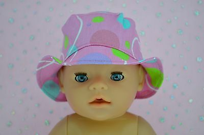 "Play n Wear Doll Clothes To Fit 17"" Baby Born CANDY PINK/SPOT DRILL SUN HAT"