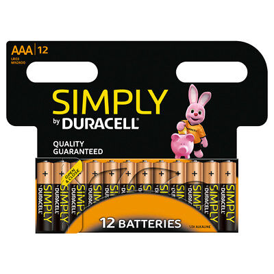 """New Duracell Aaa Size 12 Pack Simply Alkalne Batteries """"Mn2400B12Simply"""""""