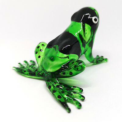 Figurine Green Frog Collectible Hand Blown Art Glass Garden Decor Statue