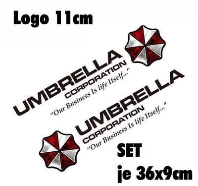 Resident Evil Umbrella Corporation Sticker Auto Aufkleber SET Car schwarz 50cm