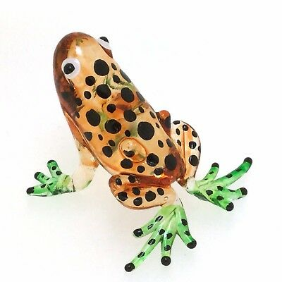 Lampwork COLLECTIBLE MINIATURE HAND BLOWN GLASS Brown Frog FIGURINE Zoo Craft