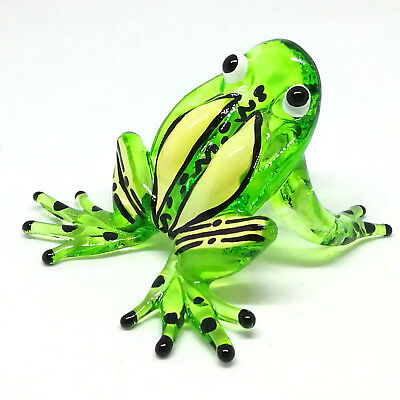 Lampwork COLLECTIBLE MINIATURE HAND BLOWN Art GLASS Green Fat Frog FIGURINE