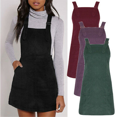 Plus Size 8-20 Women Casual Baggy Corduroy Straps Dungaree Dress Overalls Skirts