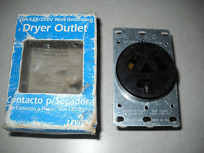 leviton 30 amp dryer outlet, new old stock