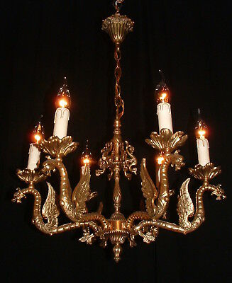 Vintage large French 6 arm bronze dragon chandelier
